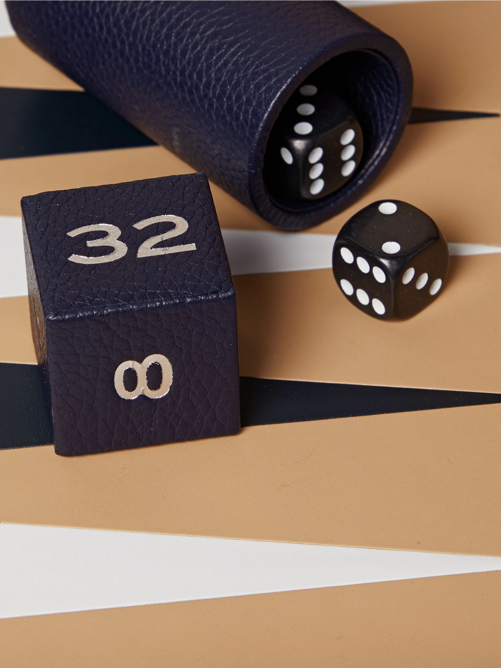 Boston Full-Grain Leather Travel Backgammon Set