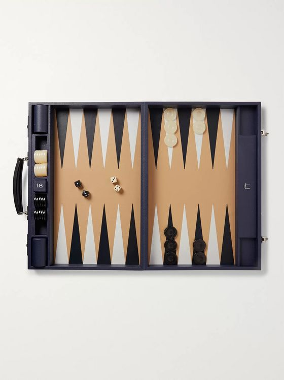 DUNHILL Boston Full-Grain Leather Travel Backgammon Set