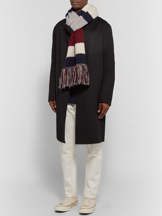 The Elder Statesman Fringed Striped Ribbed Cashmere Scarf
