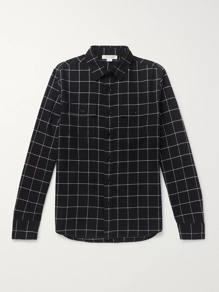 FRAME Windowpane-Checked Cotton-Flannel Shirt
