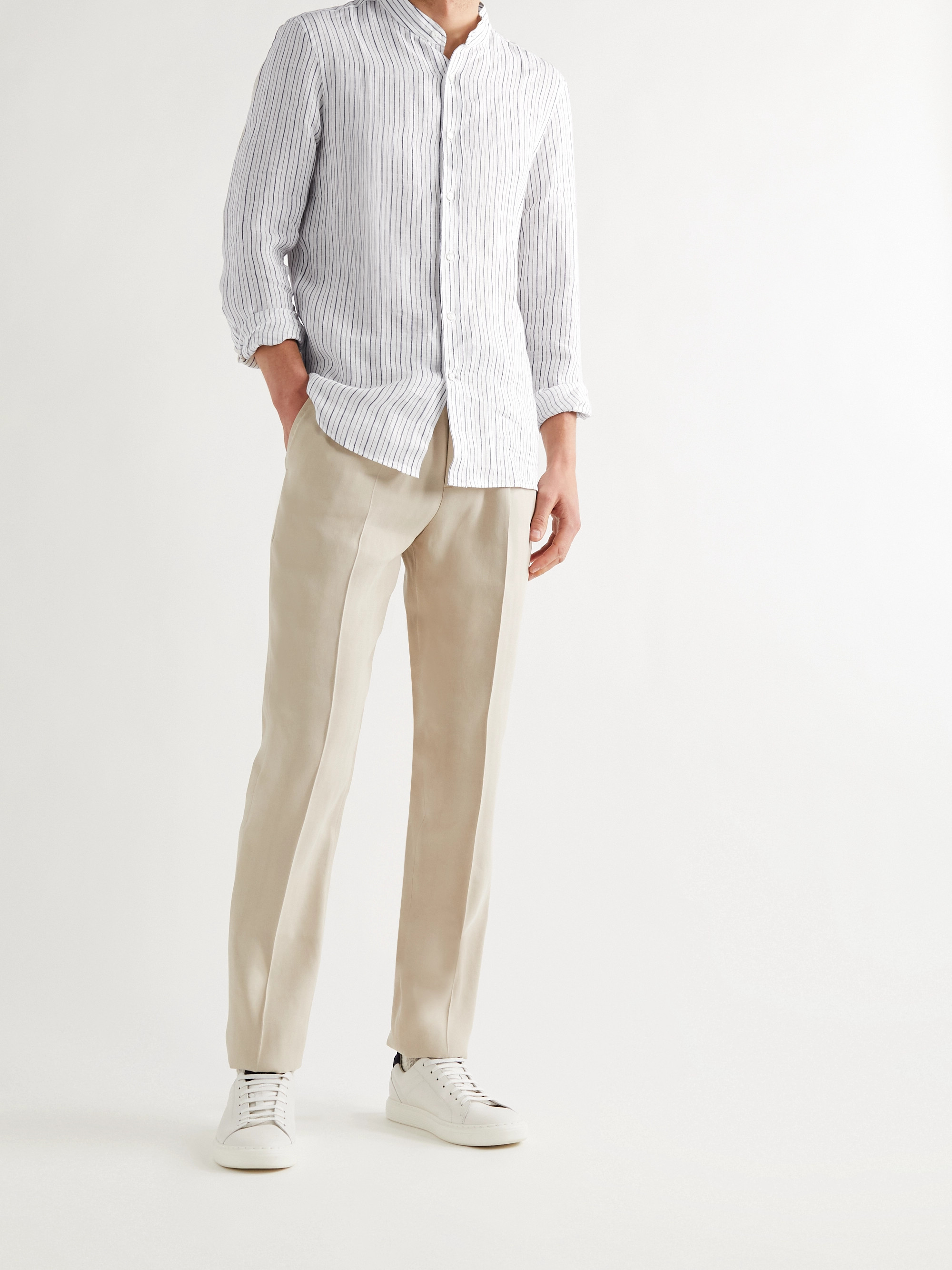 Brunello Cucinelli Grandad-Collar Pinstriped Linen Shirt