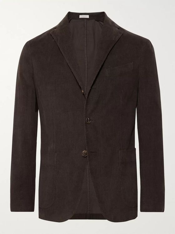 Boglioli Dark-Olive Unstructured Stretch-Cotton Corduroy Suit Jacket