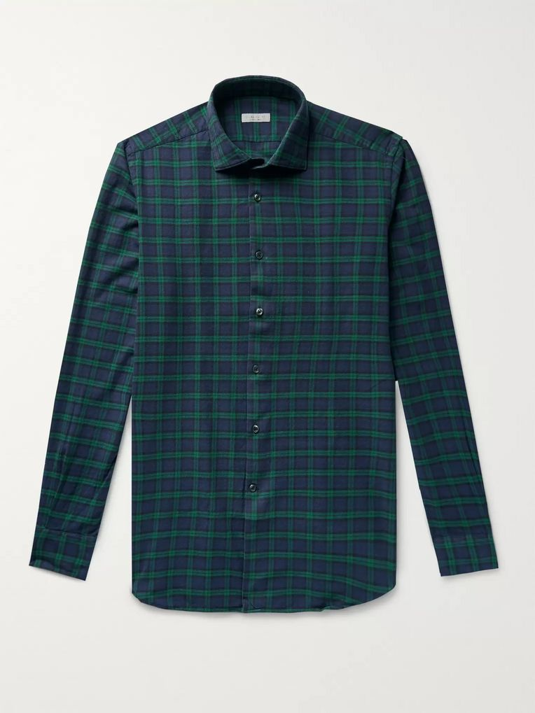 Incotex Ween Slim-Fit Cutaway-Collar Checked Cotton-Flannel Shirt