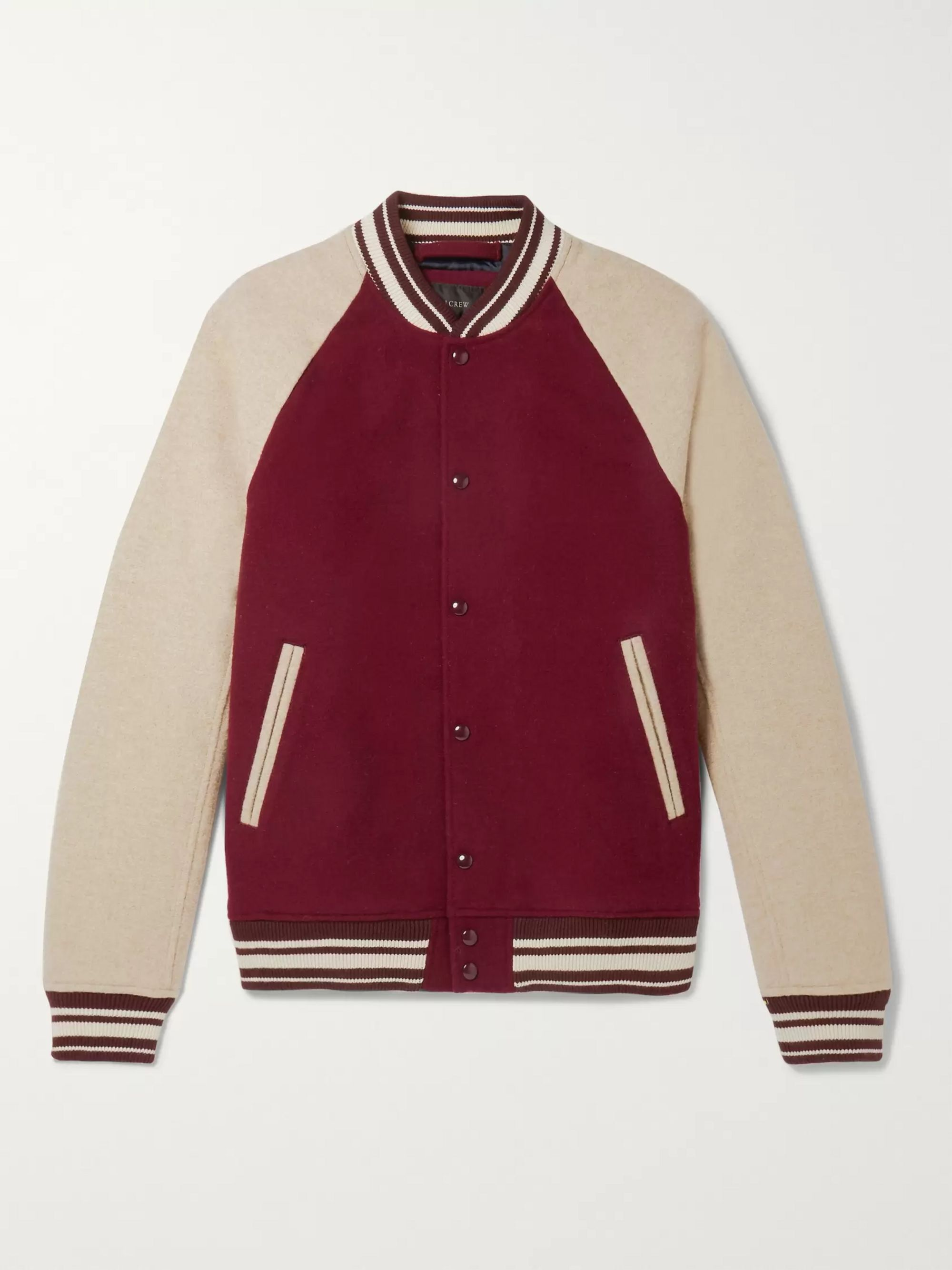 J.Crew Colour-Block Wool-Blend Bomber Jacket