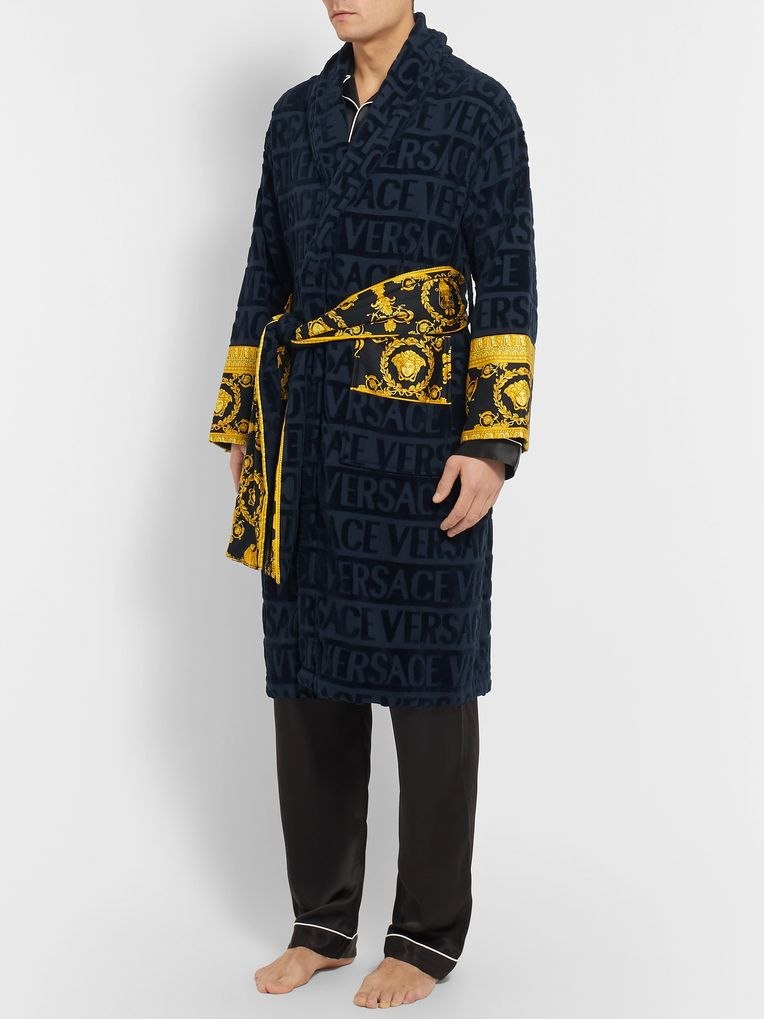 Versace Satin-Trimmed Logo-Jacquard Cotton-Terry Robe