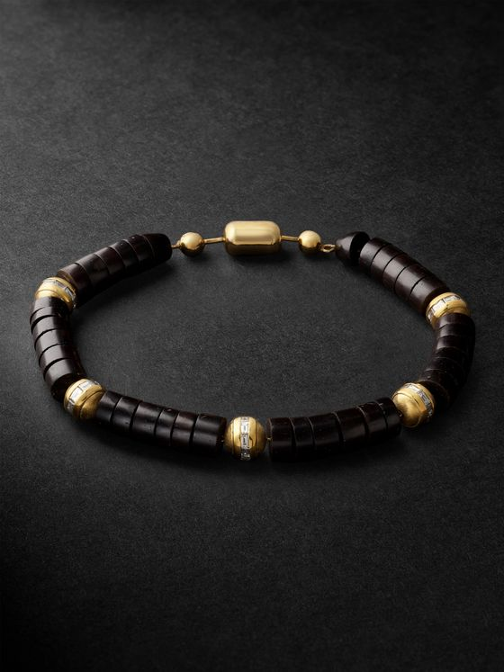 Luis Morais Bead, 14-Karat Gold and Diamond Bracelet