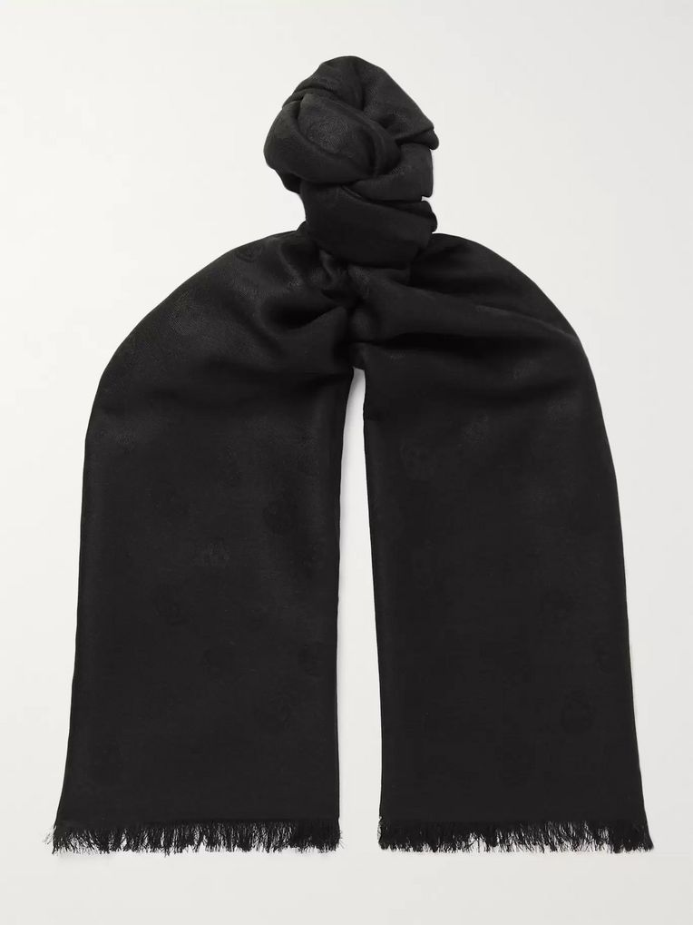 Alexander McQueen Reversible Printed Wool and Silk-Blend Scarf
