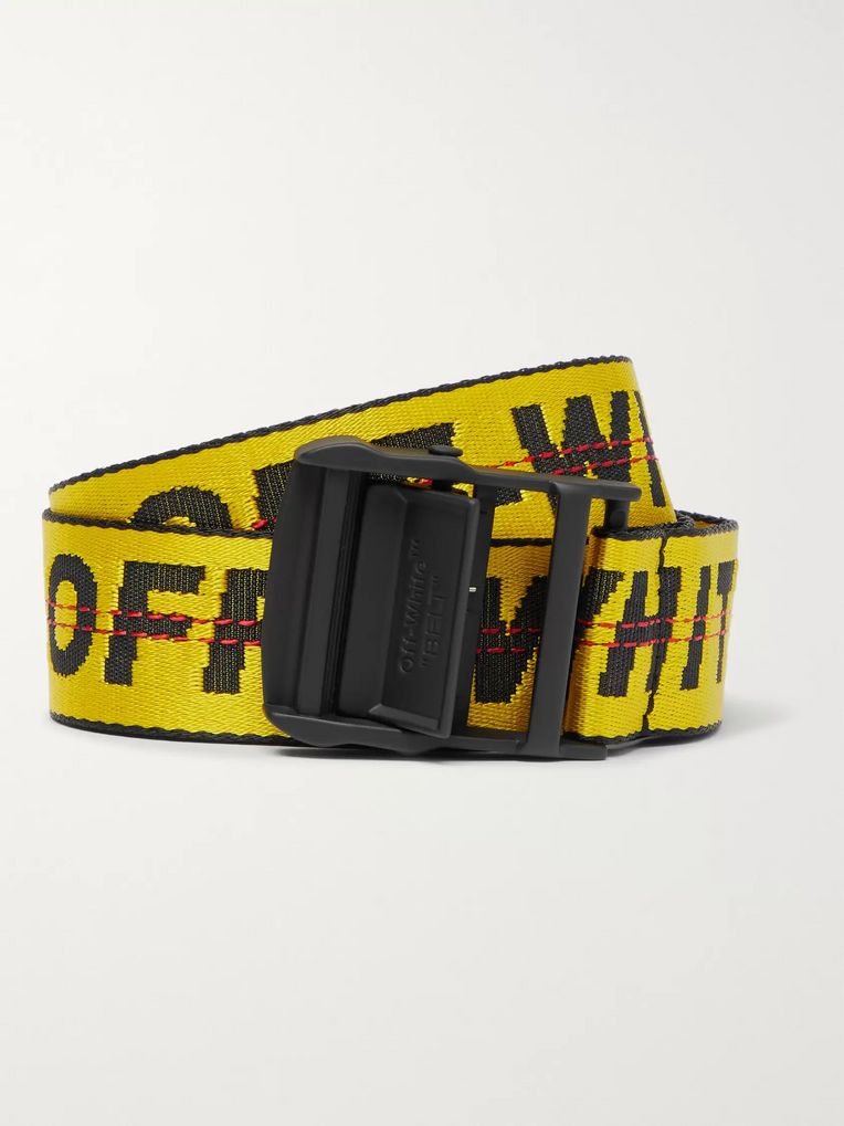 Off-White 3.5cm Yellow Industrial Logo-Jacquard Webbing Belt