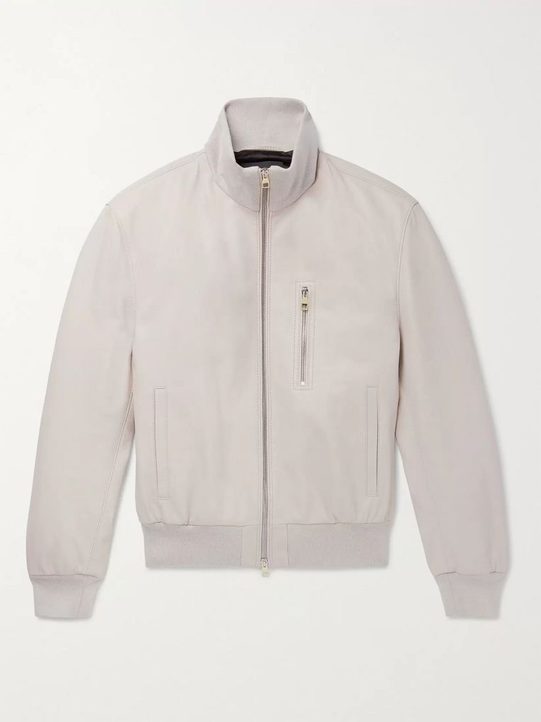 Dunhill Flyers Leather Bomber Jacket