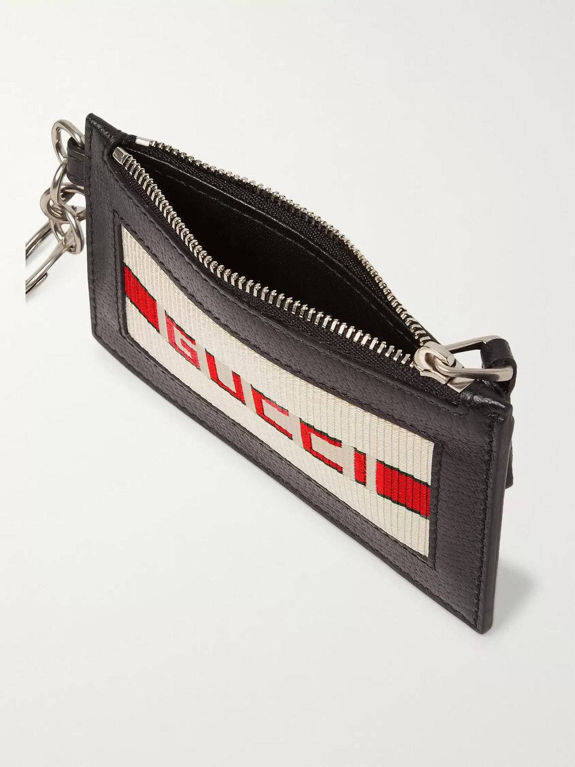 Gucci Accessories WEBBING-TRIMMED FULL-GRAIN LEATHER CARDHOLDER