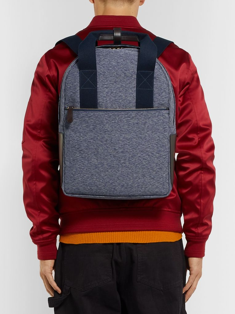The Workers Club Leather-Trimmed Canvas Backpack