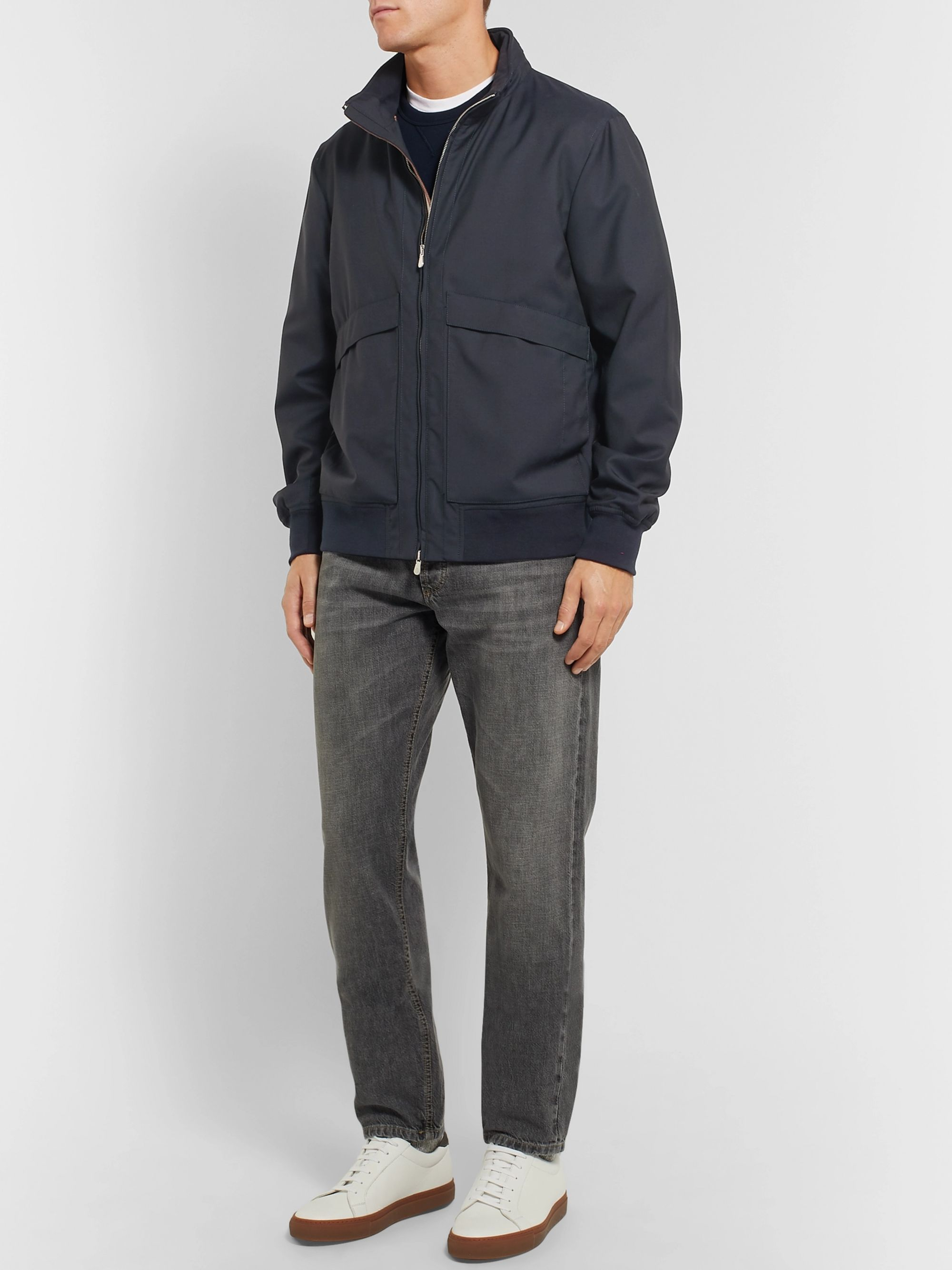 Brunello Cucinelli Wool-Blend Bomber Jacket