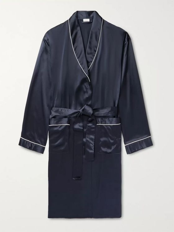 Zimmerli Piped Silk-Satin Robe