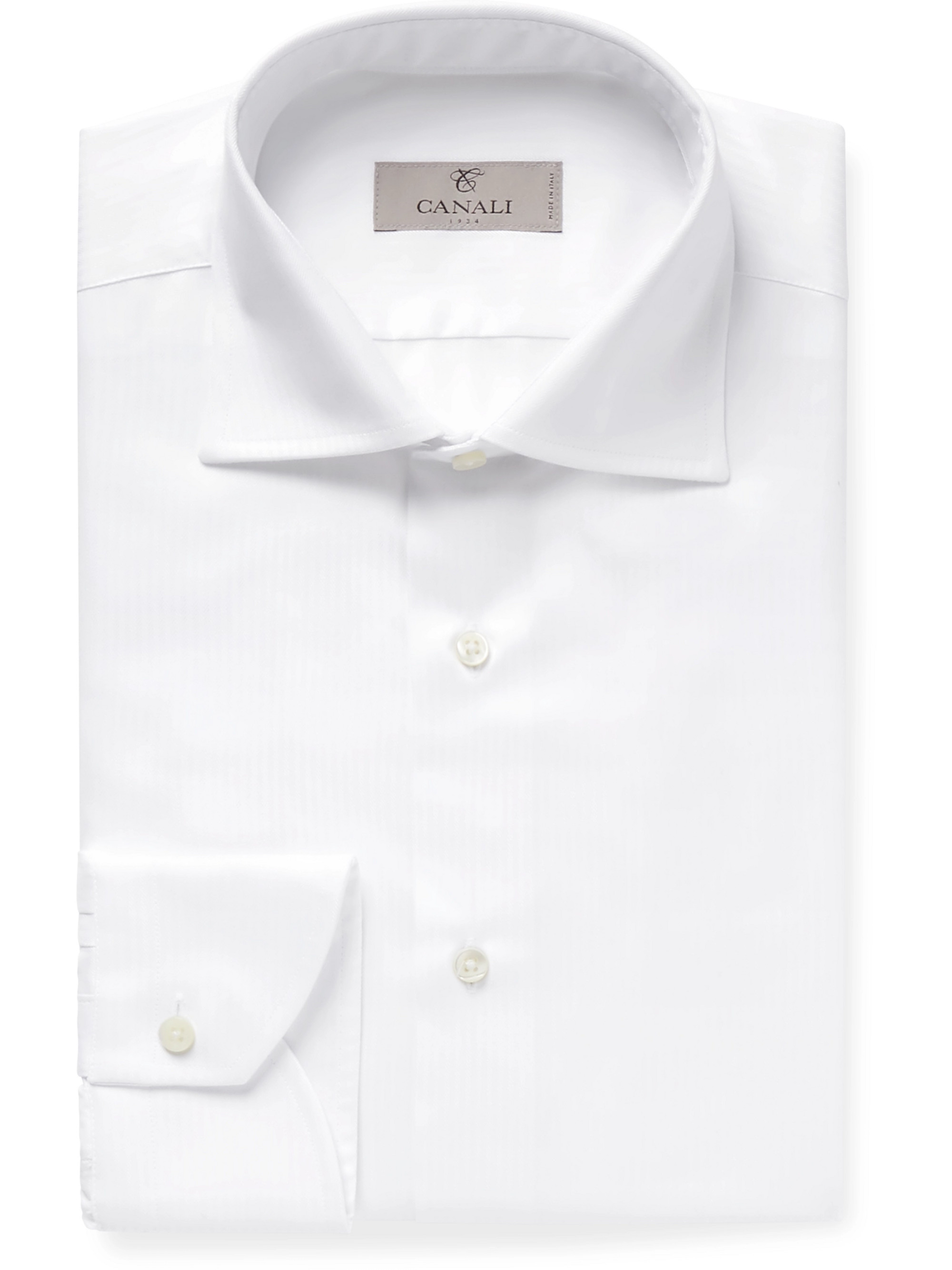 Canali Light-Blue Micro-Herringbone Cotton Shirt