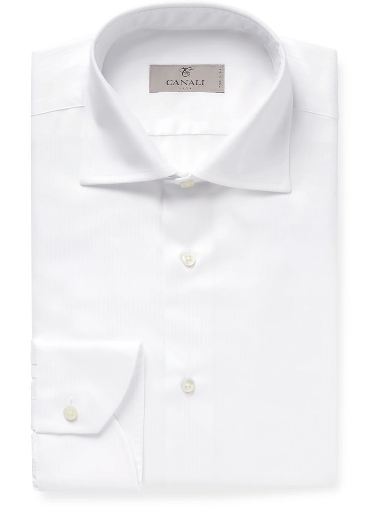 Canali Micro-Herringbone Cotton Shirt