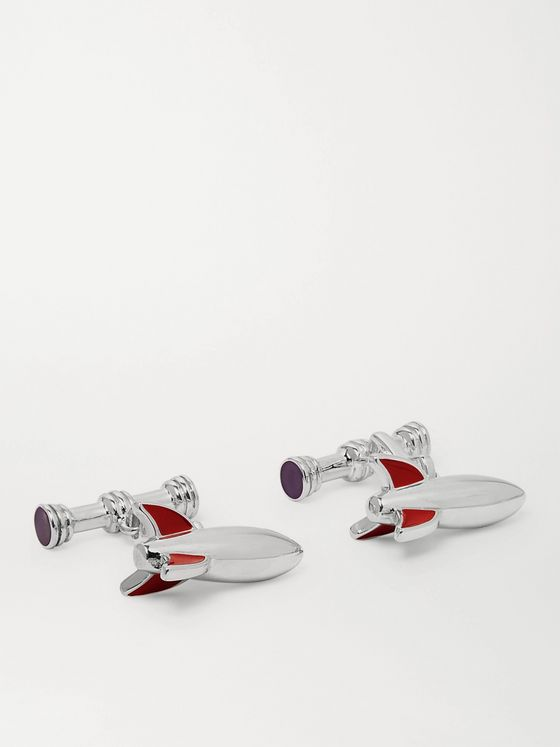 Asprey Rocket Sterling Silver and Enamel Cufflinks