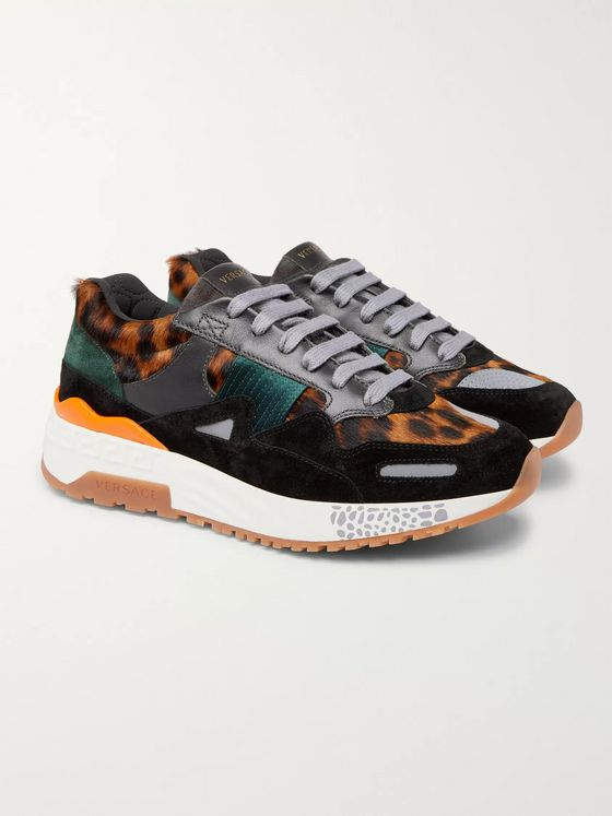 Versace Achilles Panelled Leopard-Print Calf Hair Sneakers