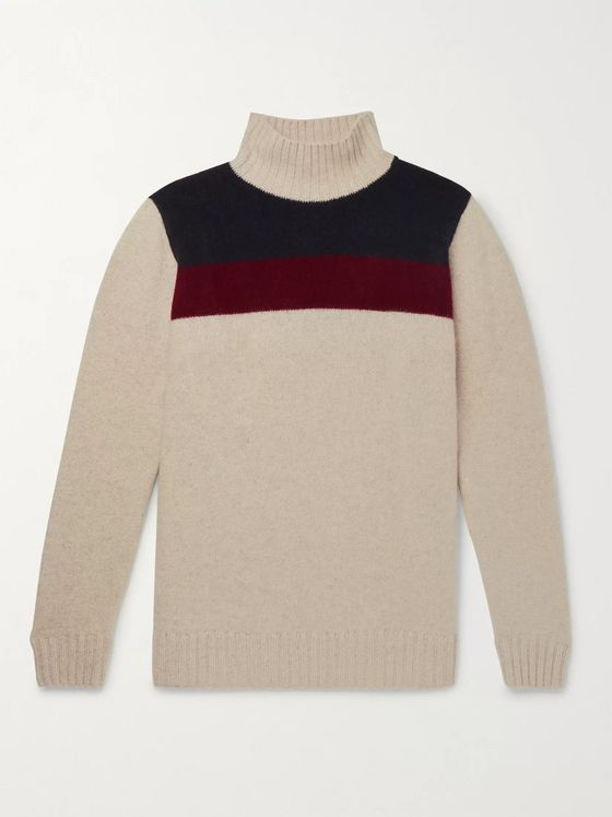 The Elder Statesman Colour-Block Cashmere Turtleneck Sweater