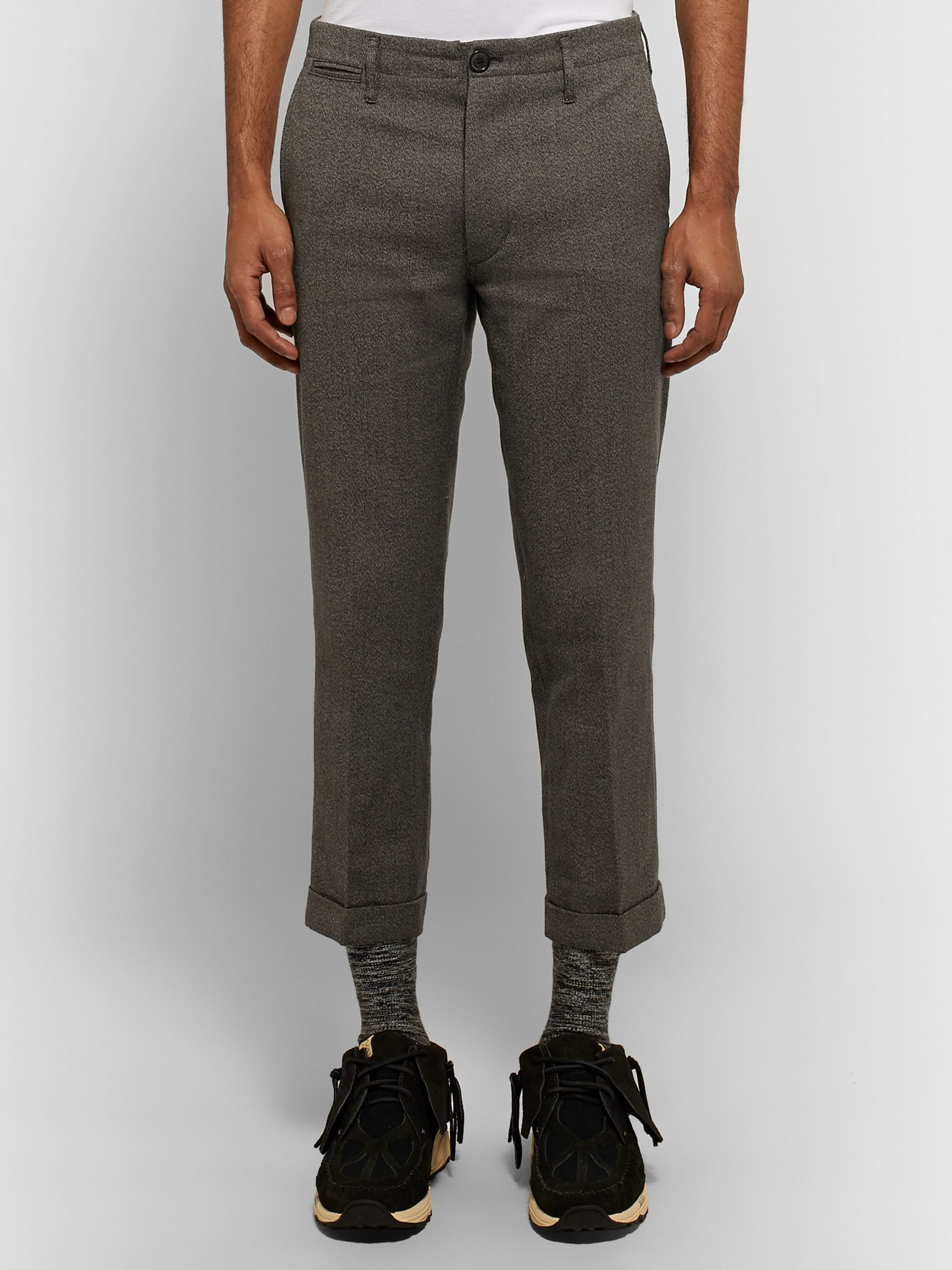 visvim High-Water Slim-Fit Tapered Linen-Blend Trousers