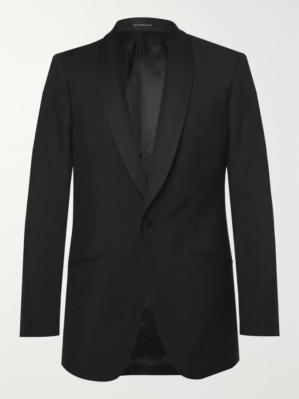Richard James Black Slim-Fit Wool and Mohair-Blend Tuxedo Jacket