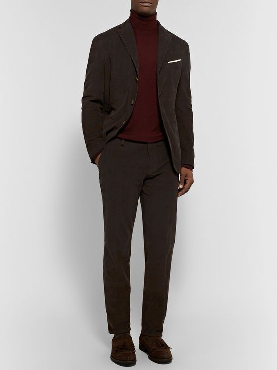 Boglioli Dark-Olive Stretch-Cotton Corduroy Suit Trousers