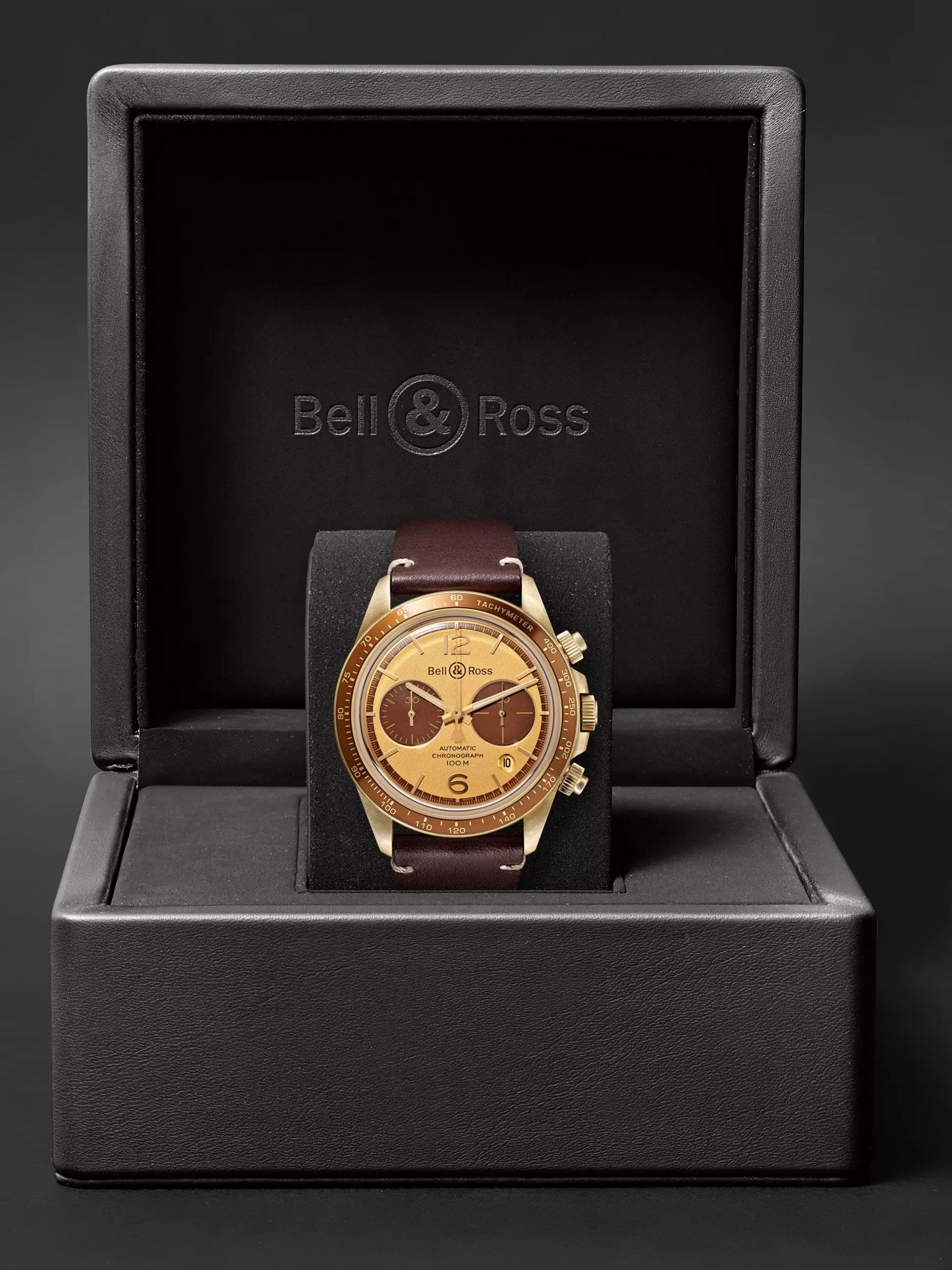 Bell & Ross + Revolution Bellytanker Chronograph 41mm Stainless Steel and Leather Watch, Ref. No. BRV294-RR-BR/SCA