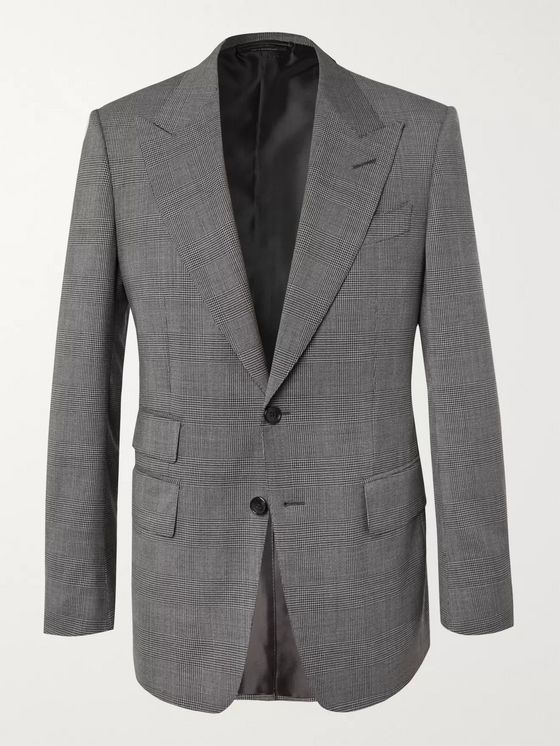 TOM FORD Black Shelton Slim-Fit Prince of Wales Checked Stretch-Wool Suit Jacket