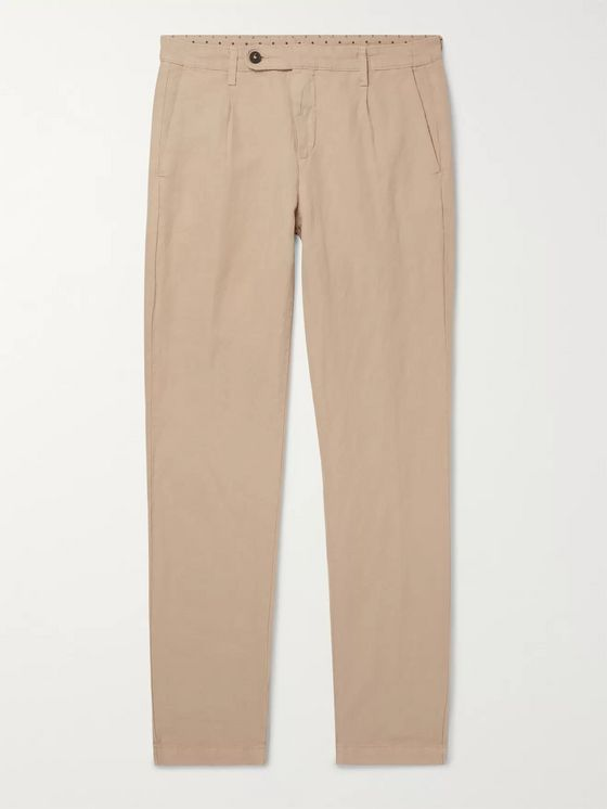 Massimo Alba Pleated Linen and Cotton-Blend Trousers