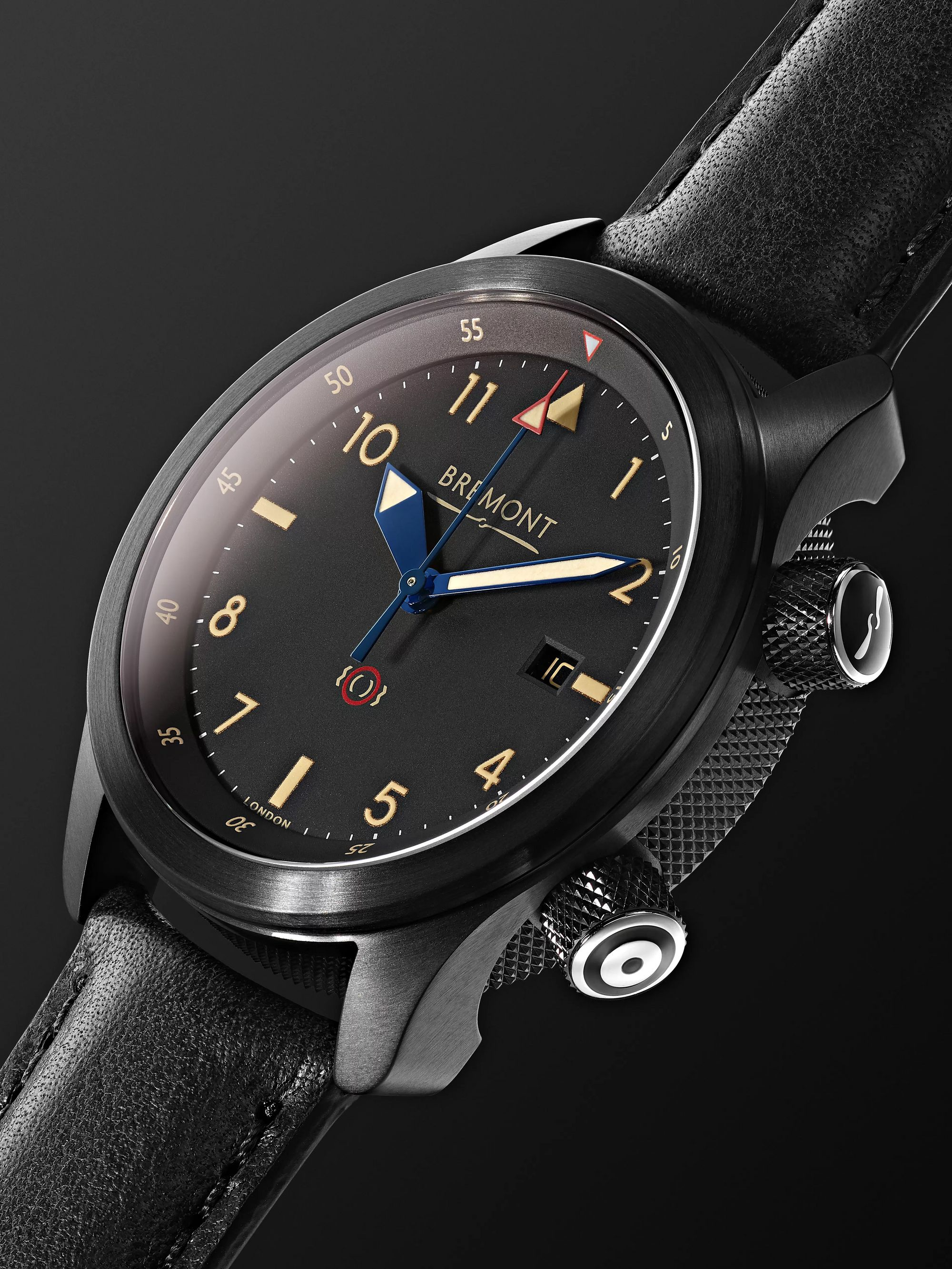 BREMONT U-2/51-JET Automatic 43mm Stainless Steel and Leather Watch