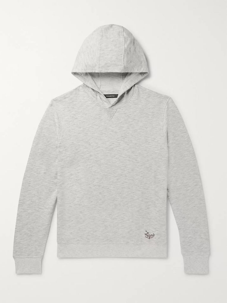 Ermenegildo Zegna Embroidered Mélange Loopback Cotton-Jersey Hoodie