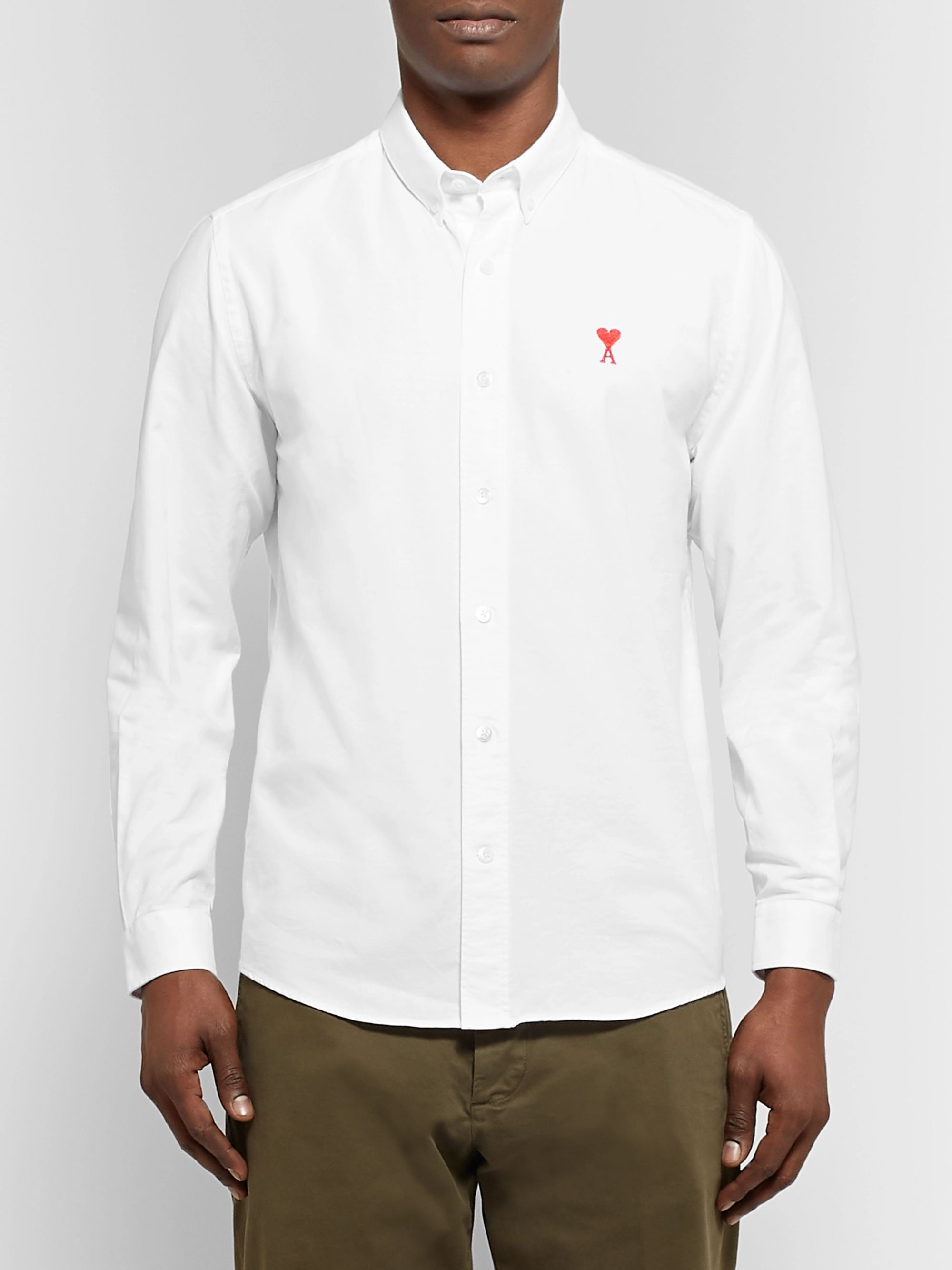 AMI Slim-Fit Button-Down Collar Logo-Embroidered Cotton Oxford Shirt