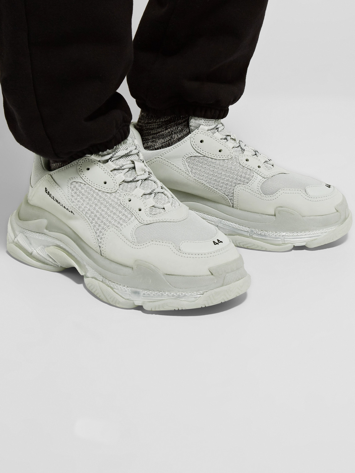 Balenciaga Sneakers TRIPLE S CLEAR SOLE MESH, NUBUCK AND LEATHER SNEAKERS