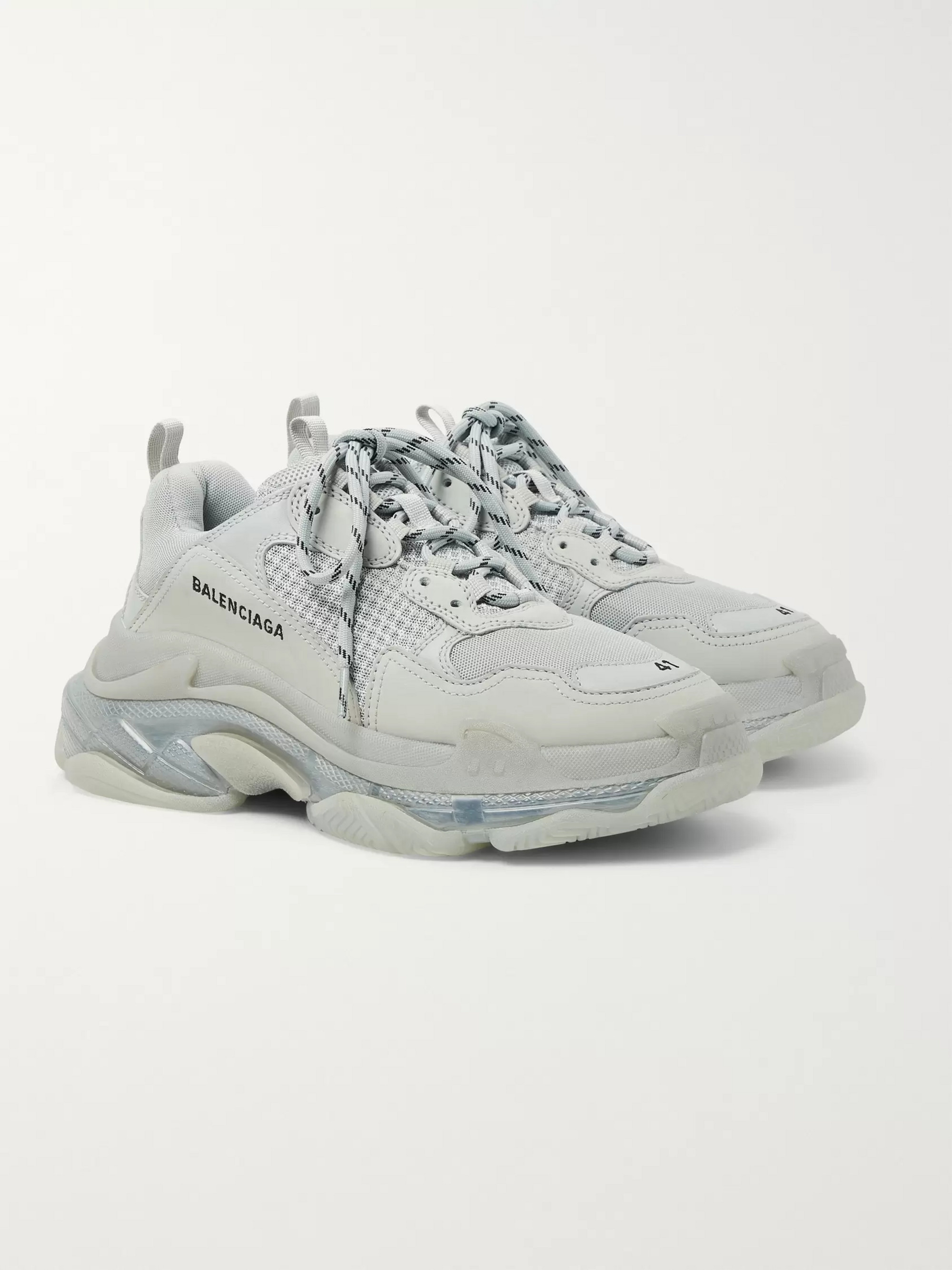 7bff9d1ebd36b Balenciaga Triple S Clear Sole Mesh, Nubuck and Leather Sneakers