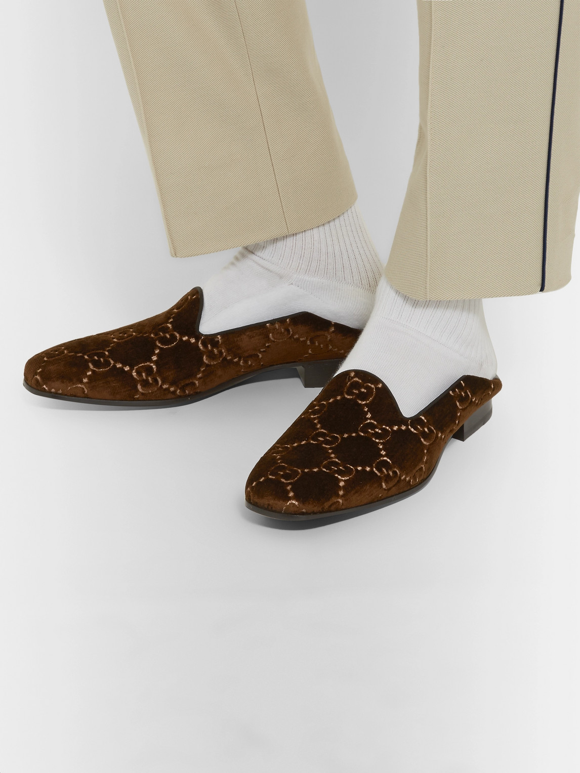 Gucci Loafers GALLIPOLI COLLAPSIBLE-HEEL LEATHER-TRIMMED EMBROIDERED VELVET LOAFERS