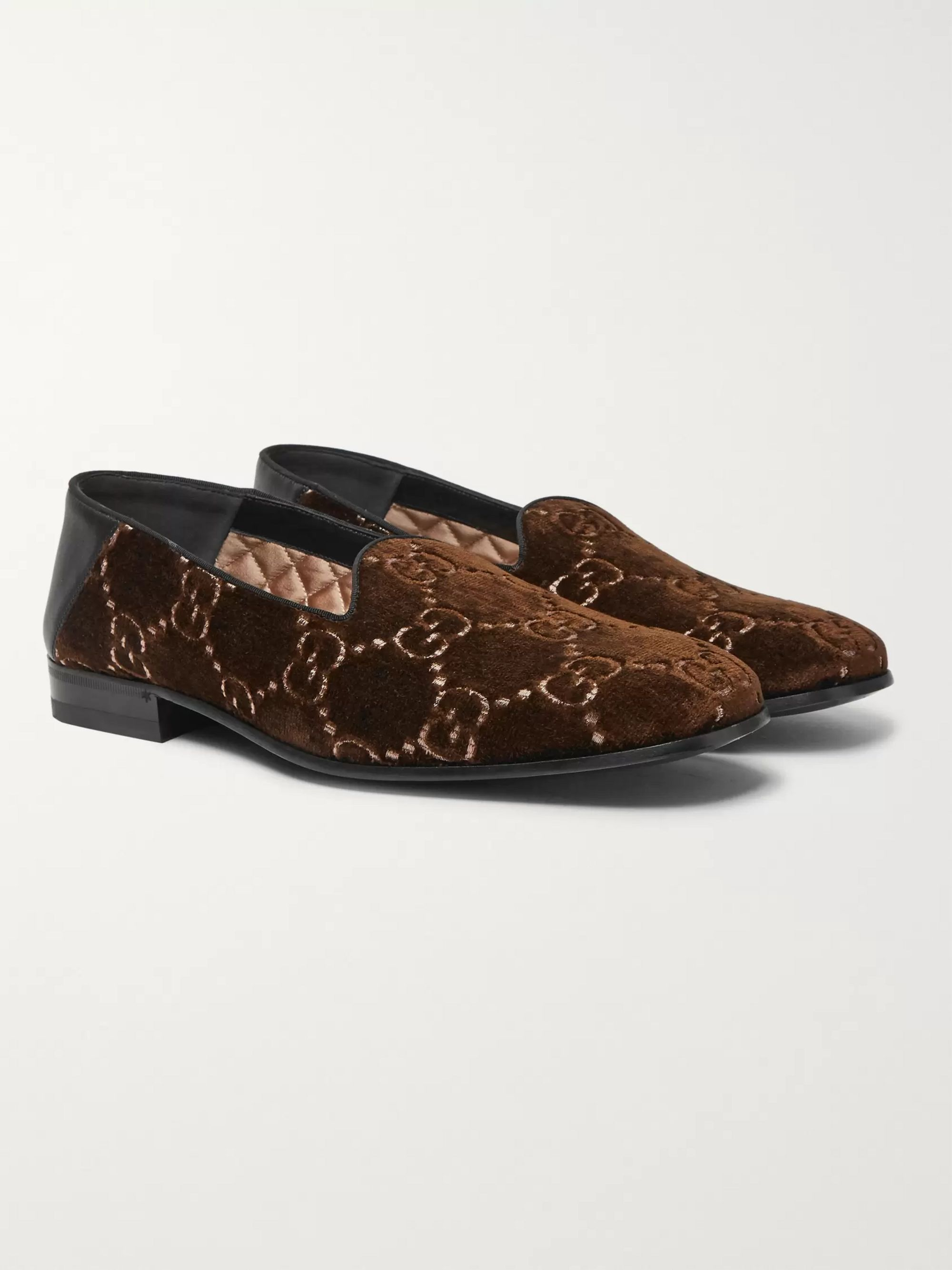 Gucci Gallipoli Collapsible-Heel Leather-Trimmed Embroidered Velvet Loafers