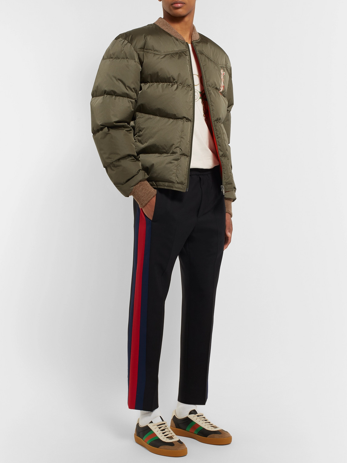 Gucci Jackets QUILTED EMBROIDERED RIPSTOP DOWN JACKET