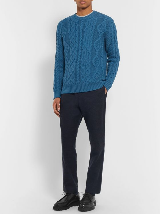 Mr P. Cable-Knit Merino Wool and Cashmere-Blend Sweater