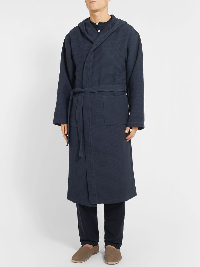 Schiesser Waffle-Knit Cotton Hooded Robe