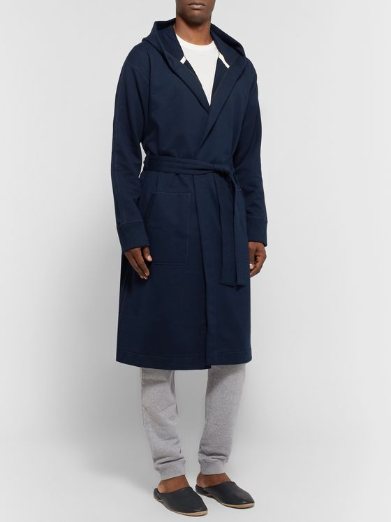 REIGNING CHAMP Loopback Cotton-Jersey Hooded Robe