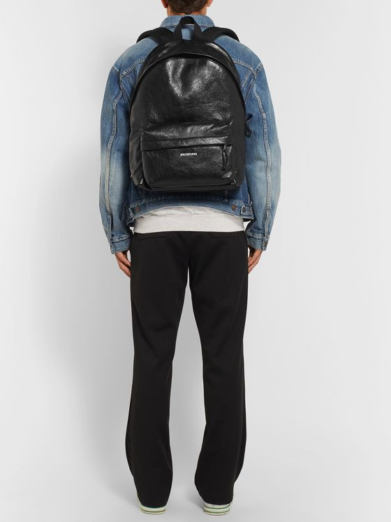 Balenciaga Explorer Arena Logo-Print Creased-Leather Backpack