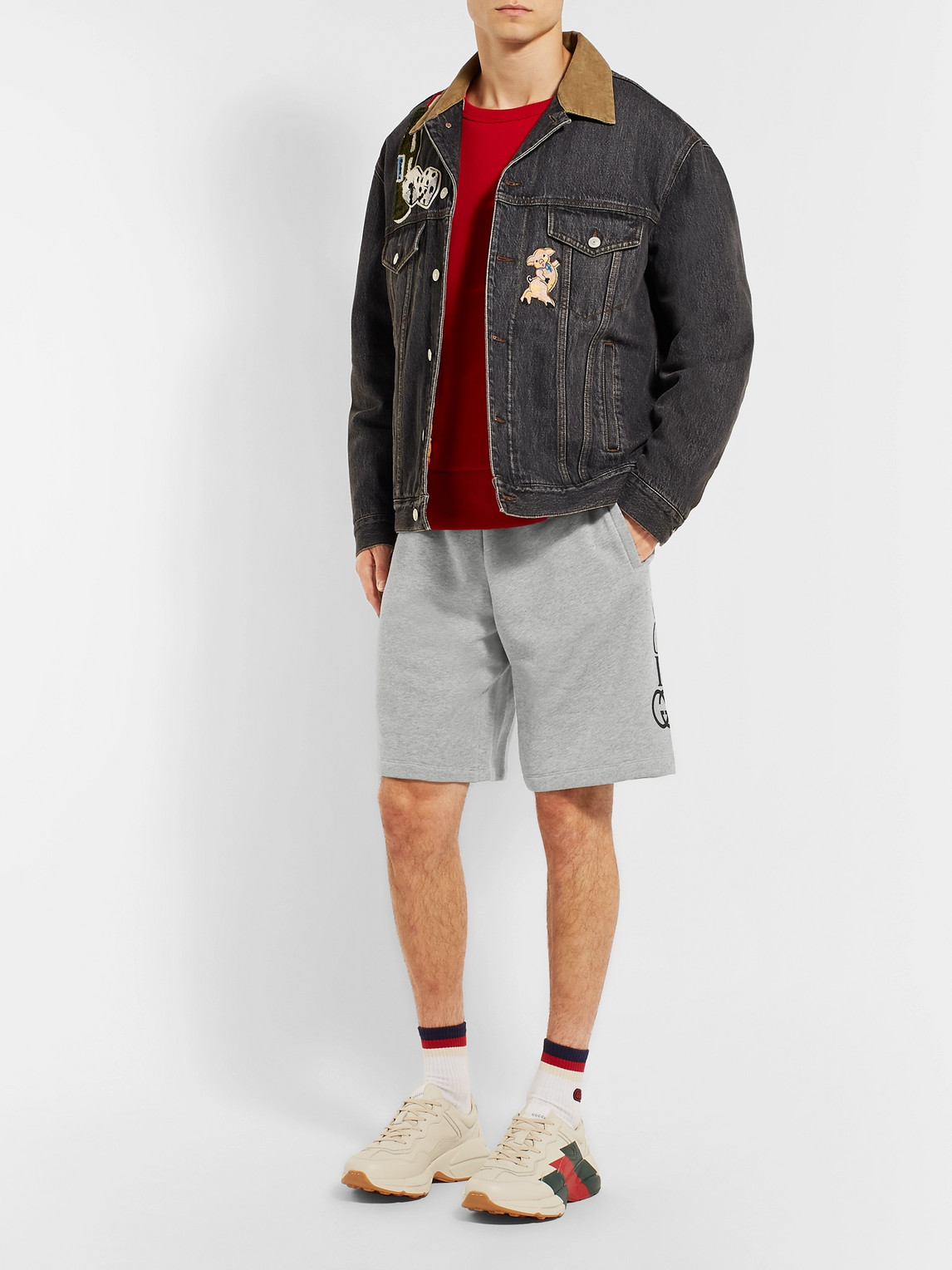 Gucci Shorts LOGO-PRINT LOOPBACK COTTON-JERSEY SHORTS