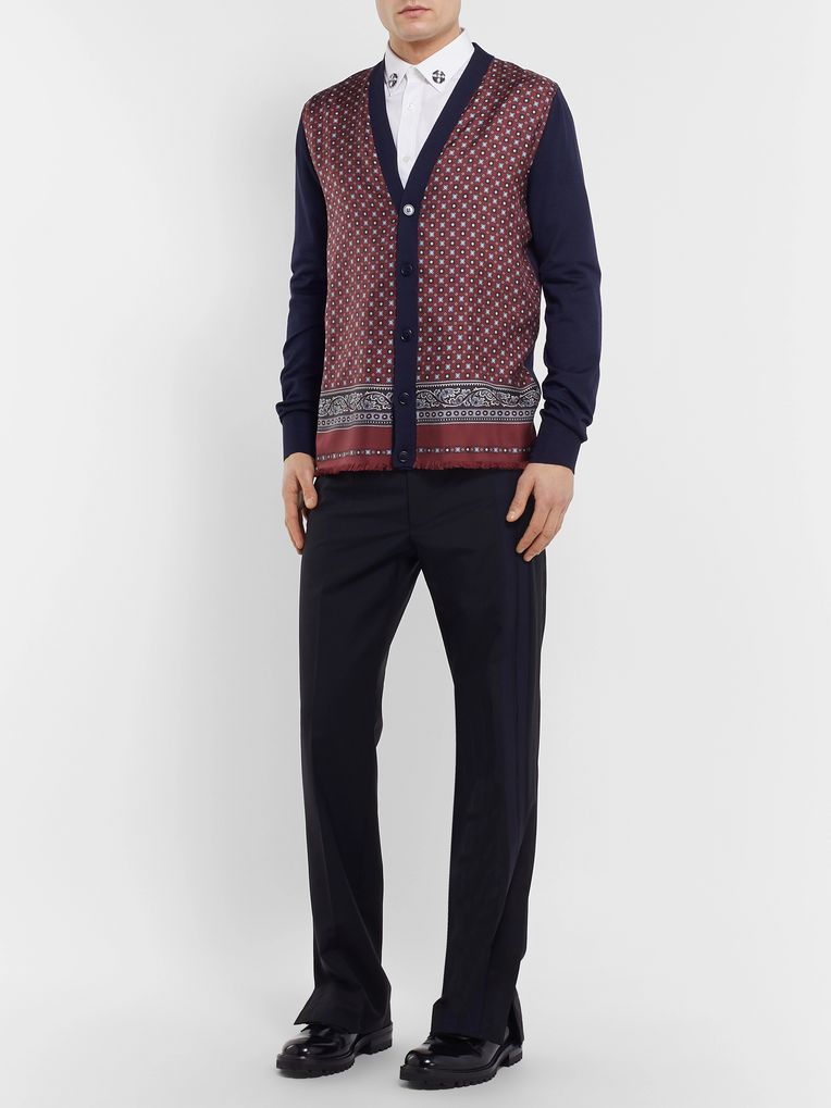 Alexander McQueen Panelled Wool-Blend and Printed Silk-Twill Cardigan