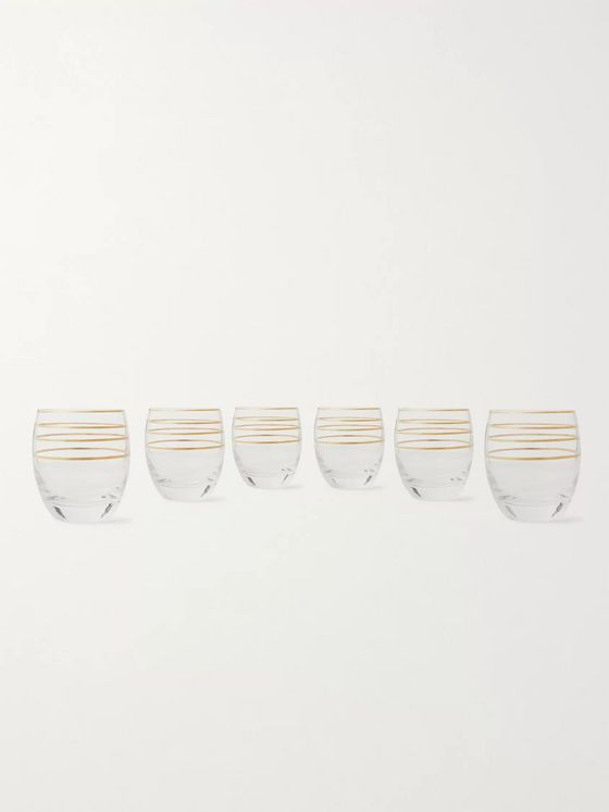 The Wolseley Collection Set of Six Gold-Detailed Crystal Tumbler Glasses