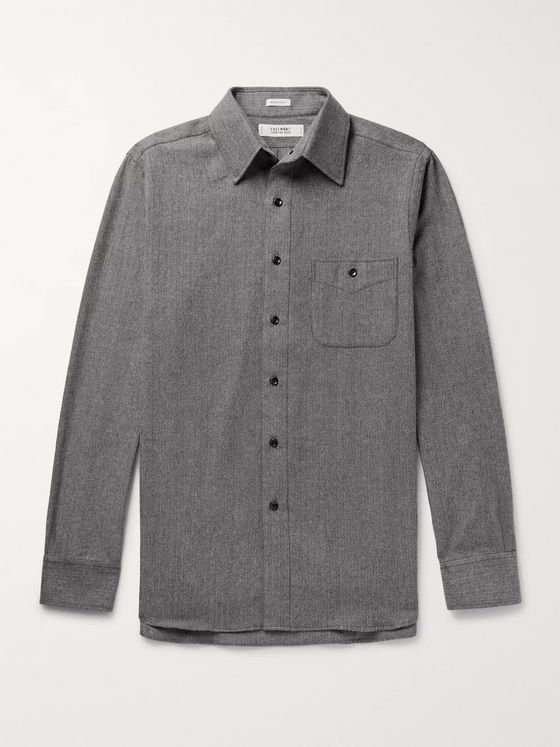 Freemans Sporting Club Striped Slub Cotton Shirt