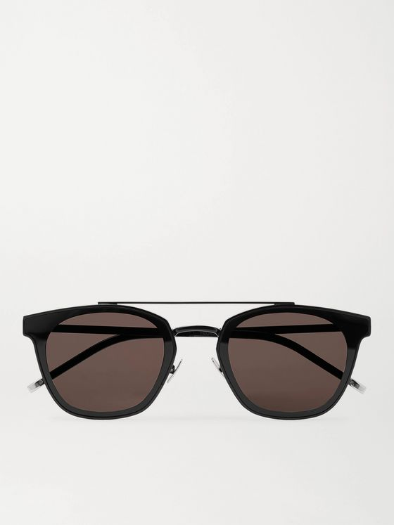 SAINT LAURENT Aviator-Style Black Metal Sunglasses