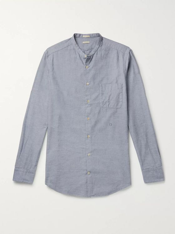 Massimo Alba Grandad-Collar Cotton-Twill Shirt