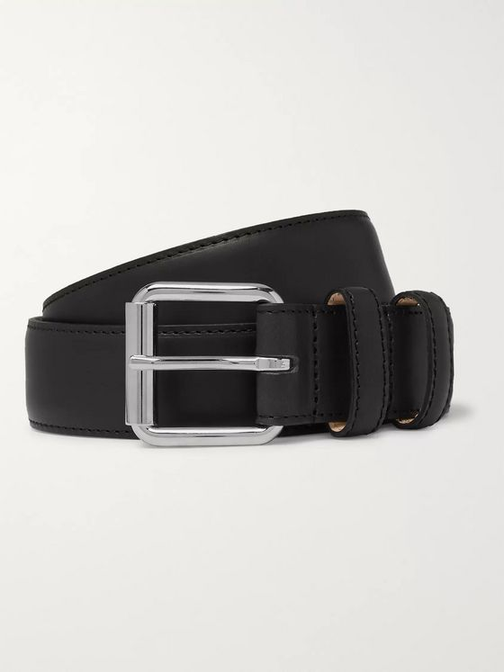 A.P.C. 3cm Black Paris Leather Belt