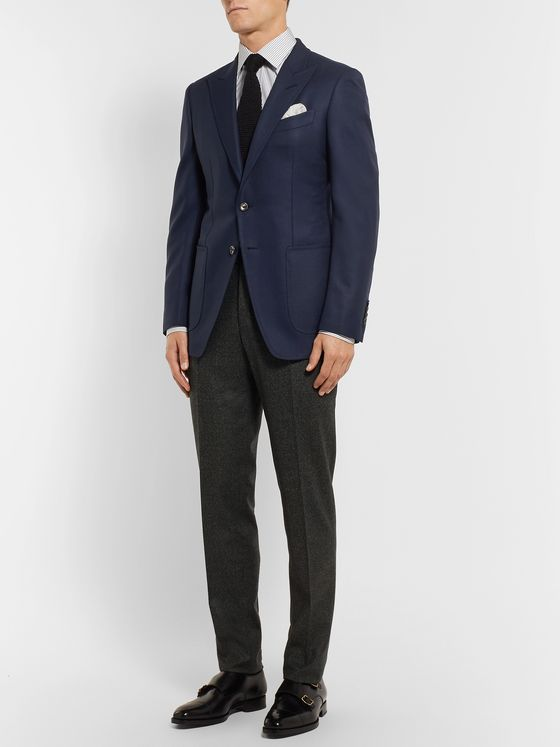 TOM FORD Navy O'Connor Slim-Fit Wool And Mohair-Blend Hopsack Blazer