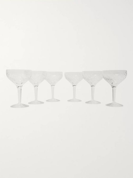 Soho Home Barwell Set of Six Cut Crystal Champagne Coupes