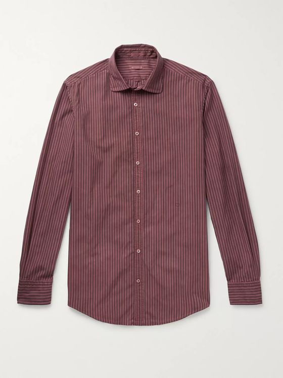 Massimo Alba Slim-Fit Striped Watercolour-Dyed Cotton Shirt